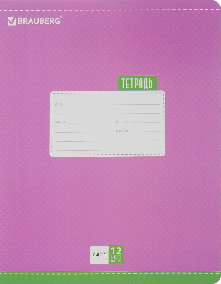 Brauberg Тетрадь Dots 12 листов в линейку цвет сиреневый72523WDОбложка тетради Brauberg Dots с закругленными углами выполнена из плотного картона, что позволит сохранить ее в аккуратном состоянии на протяжении всего времени использования. На задней обложке находится русский алфавит.Внутренний блок тетради, соединенный двумя металлическими скрепками, состоит из 12 листов белой бумаги. Стандартная линовка в линейку голубого цвета дополнена полями.