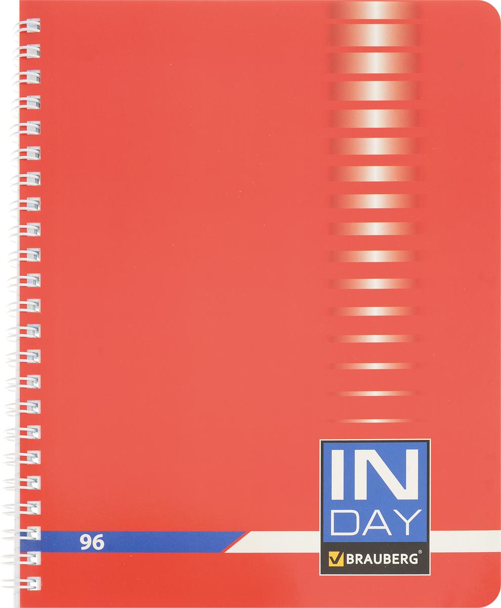 Brauberg Тетрадь In Day 96 листов в клетку цвет красный 40052672523WDТетрадь Brauberg In Day на металлическом гребне пригодится как школьнику, так и студенту.Такое практичное и надежное крепление позволяет отрывать листы и полностью открывать тетрадь на столе. Обложка изготовлена из импортного мелованного картона. Внутренний блок выполнен из высококачественного офсета в стандартную клетку без полей. Тетрадь содержит 96 листов. Страницы тетради дополнены микроперфорацией для удобного отрыва листов.