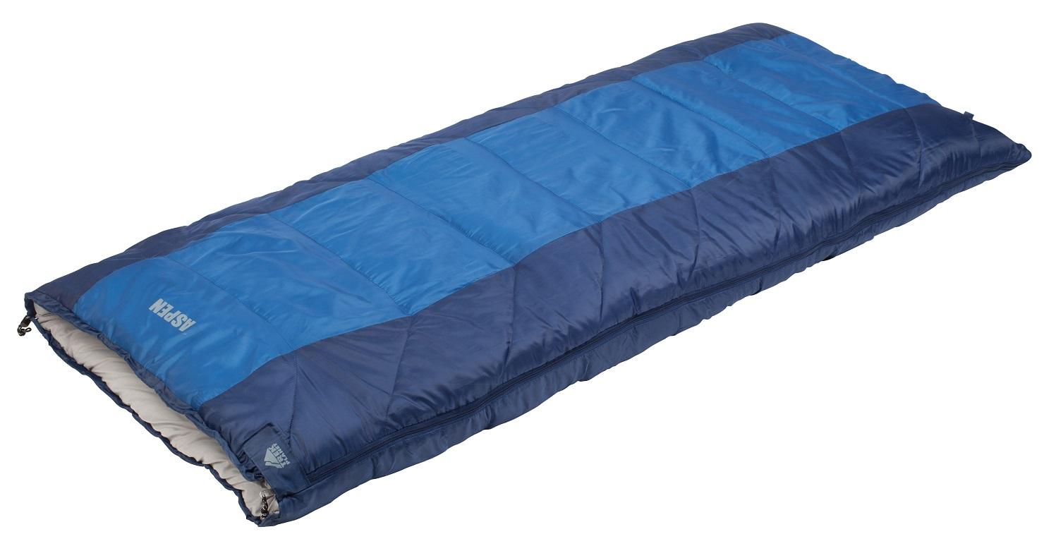 Спальный мешок Trek Planet Aspen, левосторонняя молния, цвет: синий, серый010-01199-01Комфортный, просторный и теплый спальник-одеяло Trek Planet Aspen предназначен для походов и для отдыха на природе как в летнее время, так и в весенне-осенний период. Также можно использовать как обычное одеяло. К несомненным достоинствам этого спальника можно отнести то, что он хорошо подойдет также высоким и крупным туристам. Особенности спальника:Увеличенная длина и ширина спальника,4-канальный наполнитель Hollow Fiber,Термоклапан вдоль молнии,Внутренний карман,Возможно состегивание спальников между собой (левая и правая молнии).К спальнику прилагается компрессионный чехол для удобного хранения и переноски.
