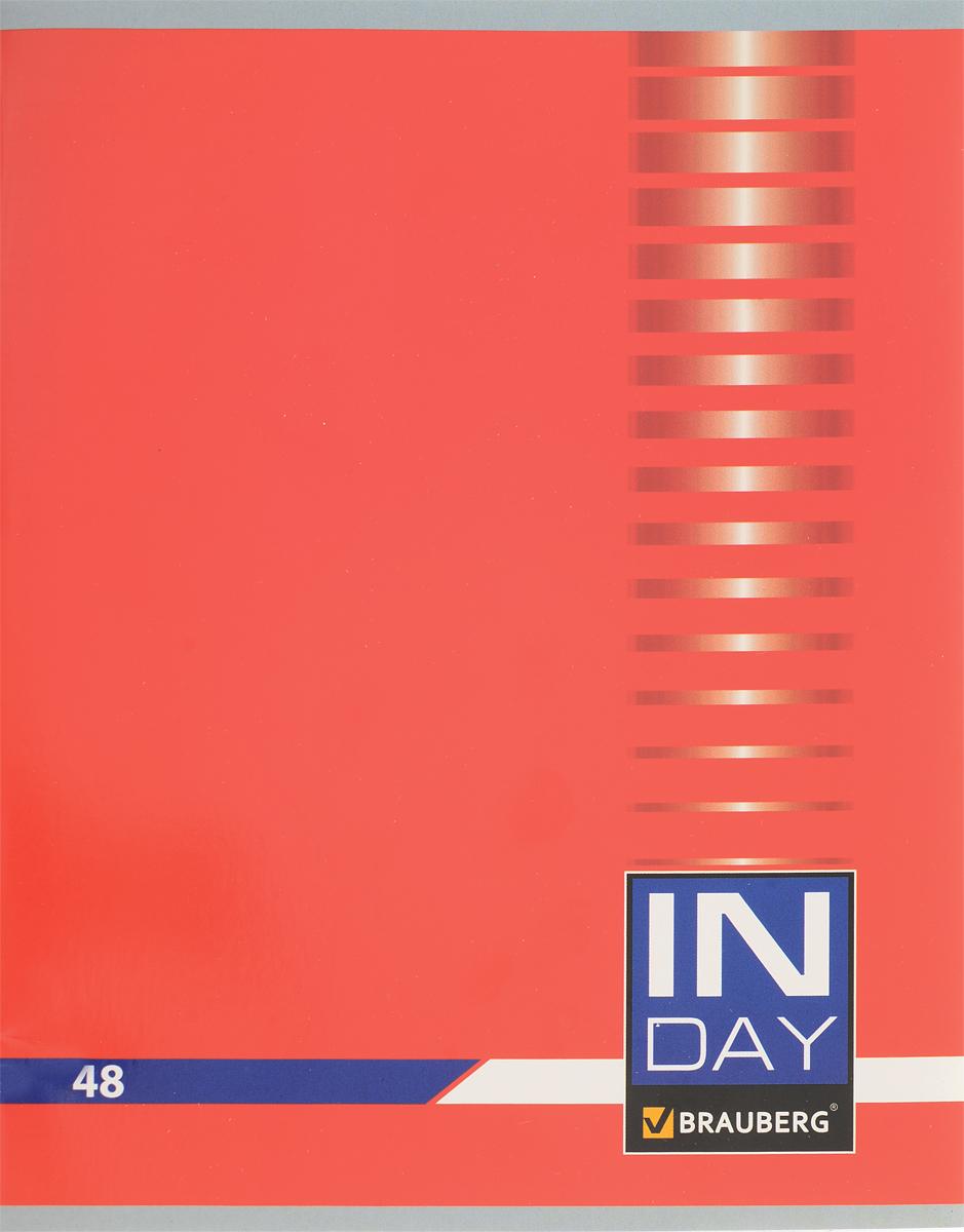 Brauberg Тетрадь In Day 48 листов в клетку цвет красный 40051872523WDОбложка тетради Brauberg In Day выполнена из плотного картона, что позволит сохранить ее в аккуратном состоянии на протяжении всего времени использования.Внутренний блок тетради, соединенный двумя металлическими скрепками, состоит из 48 листов белой бумаги. Стандартная линовка в клетку голубого цвета дополнена полями.