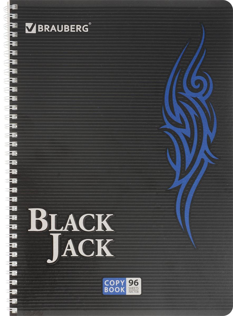 Brauberg Тетрадь BlackJack 96 листов в клетку цвет синий730396Тетрадь Brauberg BlackJack на металлическом гребне пригодится как школьнику, так и студенту.Такое практичное и надежное крепление позволяет отрывать листы и полностью открывать тетрадь на столе. Обложка тетради Brauberg BlackJack серии Pro изготовлена из высококачественного импортного картона и дополнена спецэффектом в виде выборочного УФ-лака. Внутренний блок выполнен из высококачественного офсета в стандартную клетку без полей. Тетрадь содержит 96 листов. Страницы тетради дополнены микроперфорацией для удобного отрыва листов.