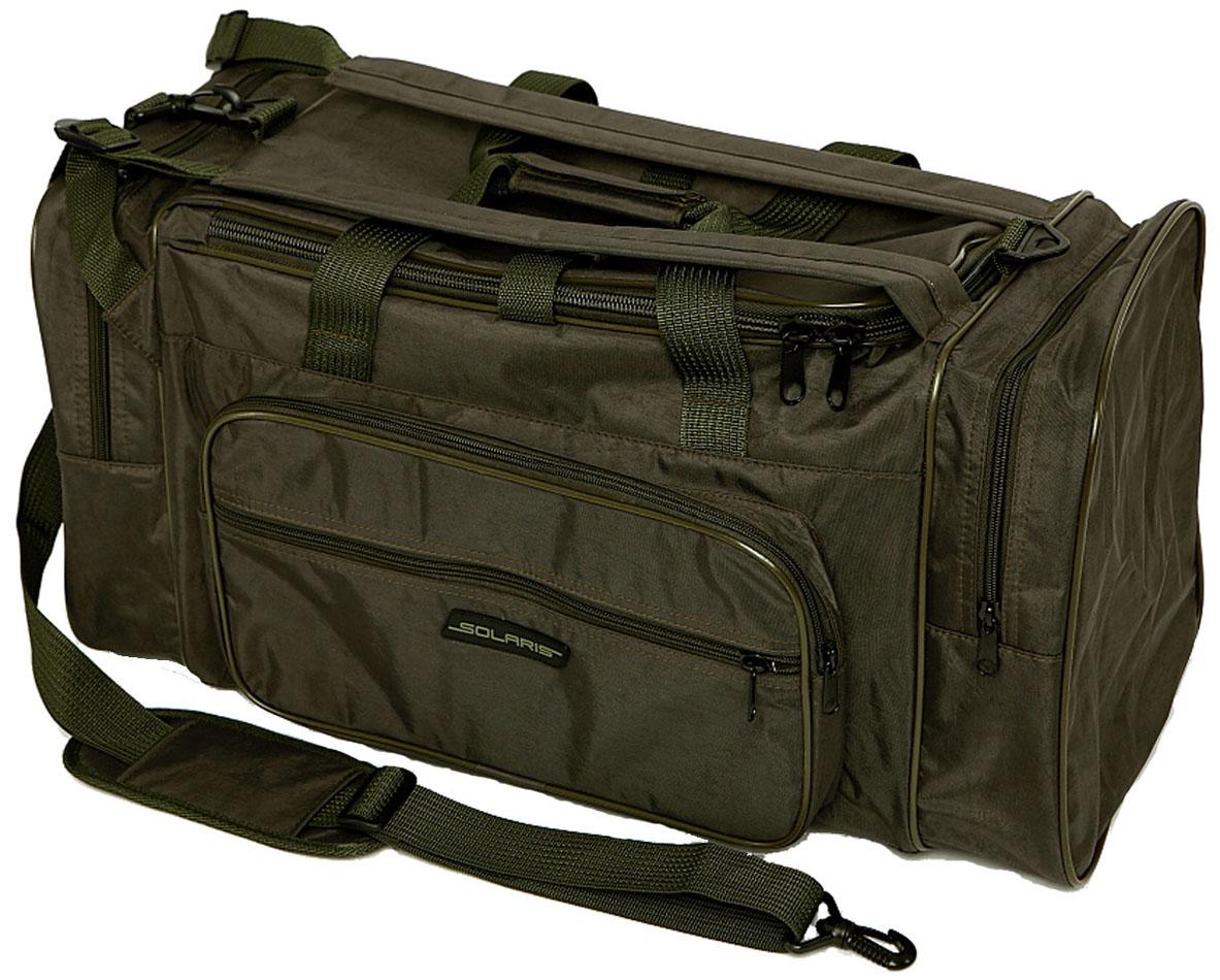 Сумка-рюкзак Solaris, цвет: серый, хаки, 52 лS5201Большая дорожная сумка-рюкзак SOLARIS идеально подойдёт для поездок на охоту и рыбалку, пикников, длительных командировок, занятий спортом, автопутешествий, а также для проведения отпуска. Сумка имеет две дополнительные плечевые лямки и её удобно использовать в качестве рюкзака. Неиспользуемые плечевые лямки можно зафиксировать при помощи ремня с пряжкой (на клапане центрального отделения).Сумку также можно переносить на одном плече с помощью основной плечевой лямки. Сумка имеет 5 отделений: основное отделение, два больших торцевых кармана, два накладных боковых кармана. Общий объём сумки 52 литра, размеры 620х300х280 мм. Сумка выполнена из высококачественной армированной непромокаемой ткани Stone Washed (жатка), состав полиэстер/ПВХ. Свойства ткани: прочность, износоустойчивость, морозостойкость, не деформируется при использовании.Ткань Серый Хаки хамелеон меняет цвет в зависимости от освещения: от зелёно-серого при ярком свете - до коричнево-серого в сумерках. Используется лёгкая и прочная пластиковая фурнитура (материал - ацеталь).