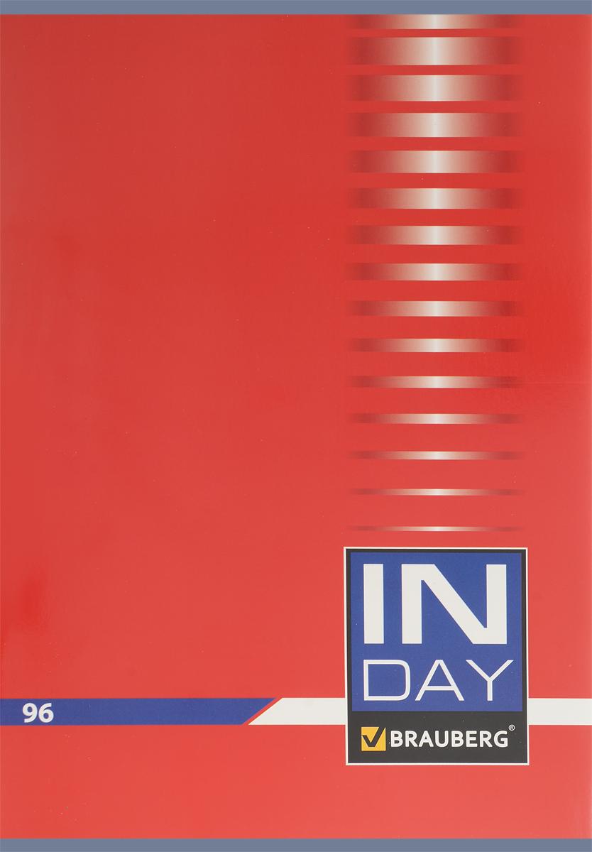 Brauberg Тетрадь In Day 96 листов в клетку цвет красный 400520400520_красныйОбложка тетради Brauberg In Day выполнена из плотного картона, что позволит сохранить ее в аккуратном состоянии на протяжении всего времени использования.Внутренний блок тетради, соединенный двумя металлическими скрепками, состоит из 96 листов белой бумаги. Стандартная линовка в клетку голубого цвета без полей.