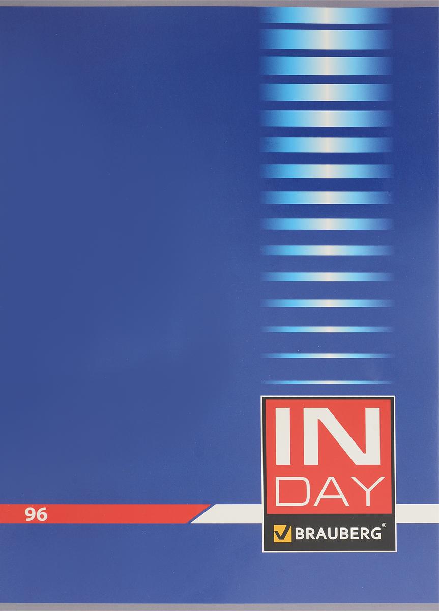 Brauberg Тетрадь In Day 96 листов в клетку цвет синий 40052072523WDОбложка тетради Brauberg In Day выполнена из плотного картона, что позволит сохранить ее в аккуратном состоянии на протяжении всего времени использования.Внутренний блок тетради, соединенный двумя металлическими скрепками, состоит из 96 листов белой бумаги. Стандартная линовка в клетку голубого цвета без полей.