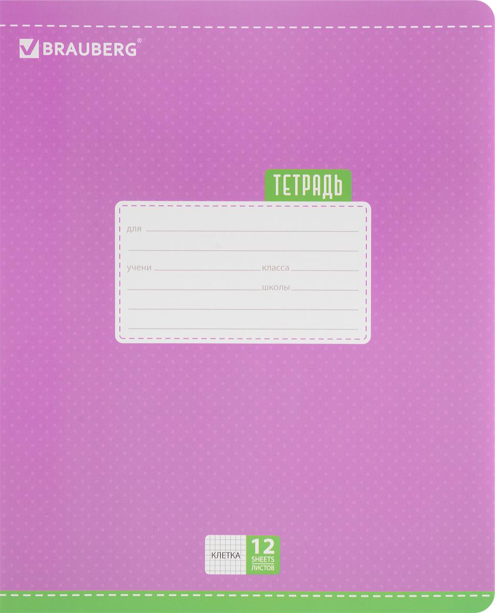 Brauberg Тетрадь Dots 12 листов в клетку цвет сиреневый72523WDОбложка тетради Brauberg Dots с закругленными углами выполнена из плотного картона, что позволит сохранить ее в аккуратном состоянии на протяжении всего времени использования. На задней обложке находятся меры длины, меры объема, меры массы, меры площади и таблица умножения.Внутренний блок тетради, соединенный двумя металлическими скрепками, состоит из 12 листов белой бумаги. Стандартная линовка в клетку голубого цвета дополнена полями.