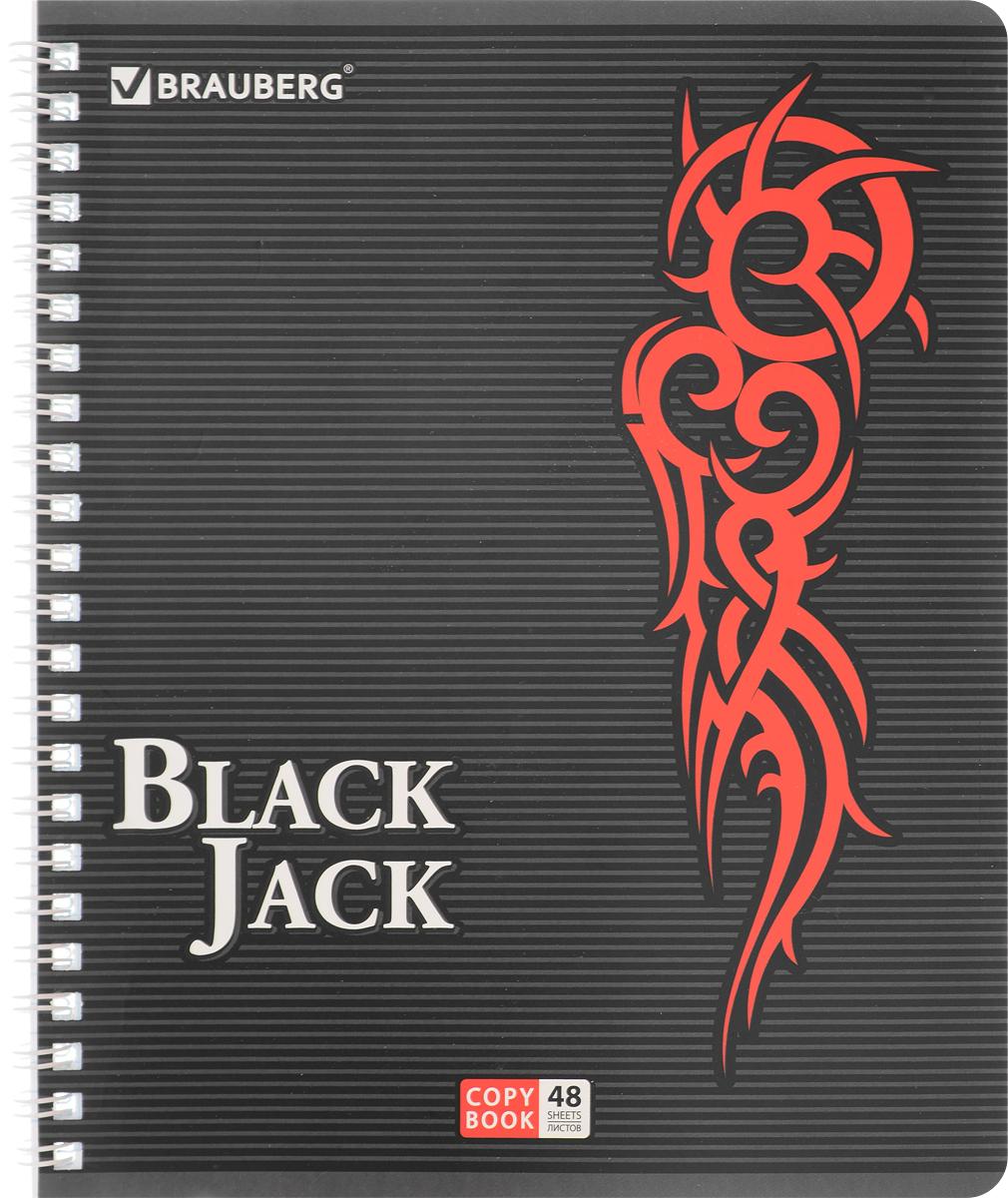 Brauberg Тетрадь BlackJack 48 листов в клетку цвет красный72523WDТетрадь Brauberg BlackJack на металлическом гребне пригодится как школьнику, так и студенту.Такое практичное и надежное крепление позволяет отрывать листы и полностью открывать тетрадь на столе. Обложка тетради Brauberg BlackJack серии PRO изготовлена из высококачественного импортного картона и дополнена спецэффектом в виде выборочного УФ-лака. Внутренний блок выполнен из высококачественного офсета в стандартную клетку без полей. Тетрадь содержит 48 листов. Страницы тетради дополнены микроперфорацией для удобного отрыва листов.