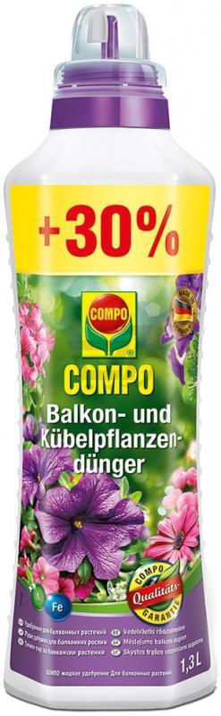 Удобрение Compo, для балконных растений, 1,3 л466155Жидкое удобрение для подкормки всех видов балконных растений Compo обеспечивает быстрый и здоровый рост, повышает устойчивость к болезням. Дополнительное содержание железа предотвращает хлороз, увеличивает продолжительность цветения, повышает иммунитет растений.Состав: азот 8% (3,9% нитратного азота, 4,1% аммиачного азота), фосфор (6% водорастворимого фосфата), калий (оксид калия водорастворимый 6%).Микроэлементы: бор 0,01%, медь 0,002%, железо 0,05%, марганец 0,02%, молибден 0,001%, цинк 0,002%.Товар сертифицирован.