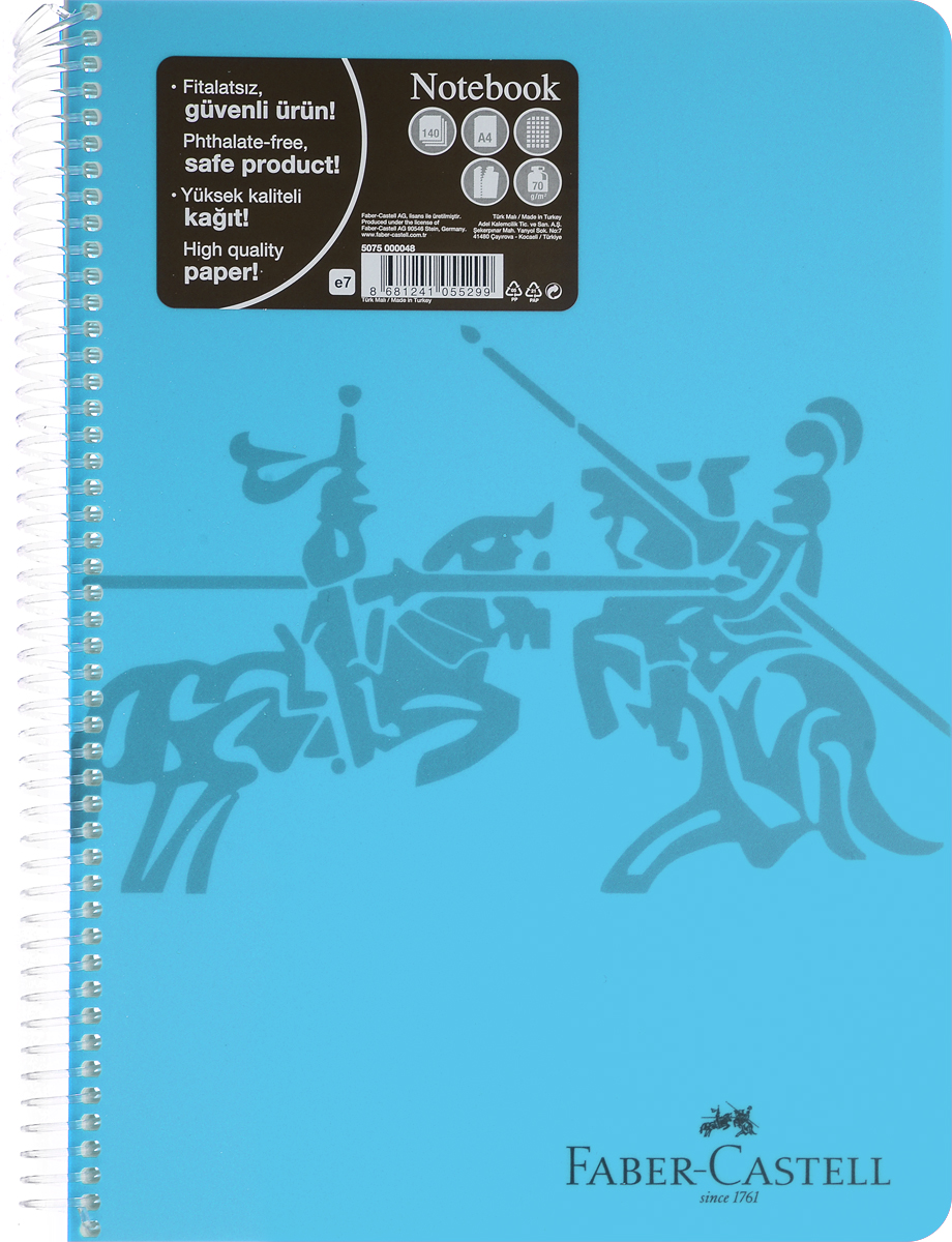 Faber-Castell Блокнот Knight 140 листов в клетку цвет голубой730396Блокнот Faber-Castell Knight в твердой пластиковой обложке подойдет для памятных записей, любимых стихов и многого другого.Внутренний блок блокнота состоит из 140 листов в клетку, способ крепления листов - пластиковая спираль. Страницы блокнота дополнены микроперфорацией для удобного отрыва листов.Такой блокнот станет не только достойным аксессуаром среди ваших канцелярских принадлежностей, но и практичным подарком для близких и друзей.