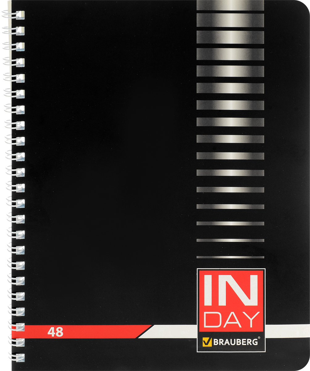 Brauberg Тетрадь In Day 48 листов в клетку цвет черный07347/650795Тетрадь Brauberg In Day для учебы и работы.Обложка, выполненная из плотного мелованного картона, позволит сохранить тетрадь в аккуратном состоянии на протяжении всего времени использования.Внутренний блок тетради, соединенный гребнем, состоит из 48 листов белой бумаги. Стандартная линовка в клетку голубого цвета не имеет полей. Страницы тетради дополнены микроперфорацией для удобного отрыва листов.