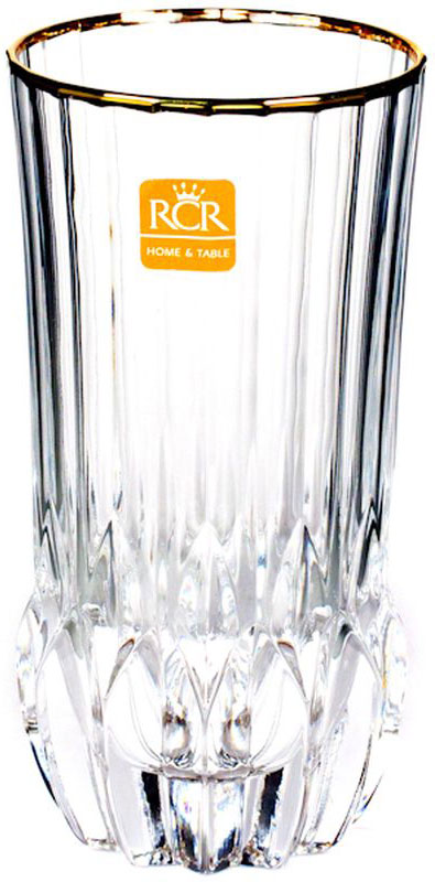 Набор стаканов RCR Адажио, с золотом, 400 мл, 6 штVT-1520(SR)RCR Cristalleria Italiana – известная во всем мире итальянская марка, которая выпускает предметы для сервировки стола и подарочные изделия из хрусталя. Как ни странно, RCR свою деятельность начинала еще с ремесленного производства, что сказывается на глубоких знаниях хрусталя, любви к этому материалу и мастерству изделий из этого материала.