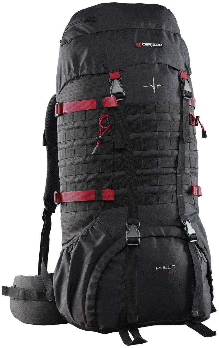 Рюкзак для путешествий Caribee Pulse, цвет: черный, красный, 80 л6610Универсальный рюкзак Caribee Pulse для походов с системой подвески Vantage для быстрой регулировки и удобной посадки. Особенности модели:- задняя подкладка воздушной сетки и поясничная поддержка,- нижний отсек на молнии с внутренней перегородкой позволяет хранить обувь отдельно,- боковые стяжки служат для фиксации содержимого рюкзака,- рюкзак оснащен двумя боковыми открытыми карманами,- дополнительно рюкзак оборудован модульной системой molle для навеса дополнительного оборудования,- лямки увеличенного размера в нижней части рюкзака предназначены для крепления дополнительного оборудования,- фронтальный вход в нижней части рюкзака можно изолировать от основного отделения посредством стяжек,- изготовлен рюкзак из полиэстера, поэтому рюкзак стоек к износу и истиранию, не впитывает влагу и не разрушается под действием ультрафиолетового излучения,- рюкзак совместим с питьевой системой.