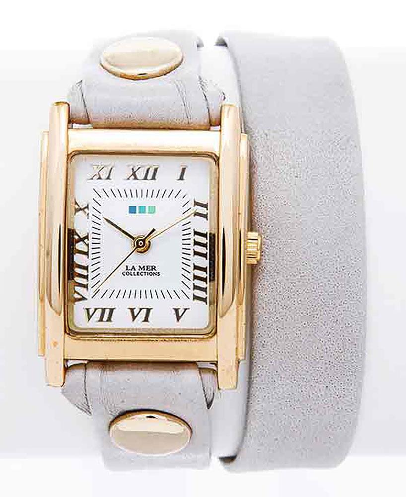 Наручные часы женские La Mer Collections Simple Double Cloud Grey, цвет: серый. LMDW1509EQW-M710DB-1A1Главный козырь часов La Mer Collections - длинные кожаные ремешки-браслеты, которые изготавливаются вручную в мастерской дизайнера Мартины Иланы в Калифорнии, США. Это новый тип аксессуара, в котором безупречно сочетается игривость бижутерии и строгость часовой классики.