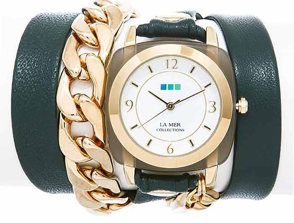 Наручные часы женские La Mer Collections Chain Acetate Emerald, цвет: зеленый. LMMULTIACE004BM8434-58AEГлавный козырь часов La Mer Collections - длинные кожаные ремешки-браслеты, которые изготавливаются вручную в мастерской дизайнера Мартины Иланы в Калифорнии, США. Это новый тип аксессуара, в котором безупречно сочетается игривость бижутерии и строгость часовой классики.
