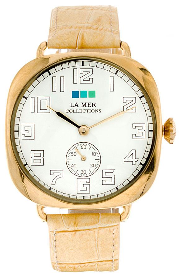 Наручные часы женские La Mer Collections Oversize Vintage Camel/Gold, цвет: бежевый. LMOVW2039xBM8434-58AEГлавный козырь часов La Mer Collections - длинные кожаные ремешки-браслеты, которые изготавливаются вручную в мастерской дизайнера Мартины Иланы в Калифорнии, США. Это новый тип аксессуара, в котором безупречно сочетается игривость бижутерии и строгость часовой классики.