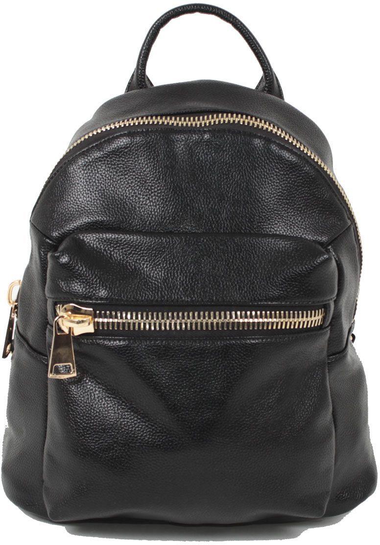 Рюкзак женский Flioraj, цвет: черный. 2140101225Закрывается на молнию. Внутри два отделения, два кармана для мобильного телефона, два на молнии, снаружи карман на молнии. Высота ручки 5 см.