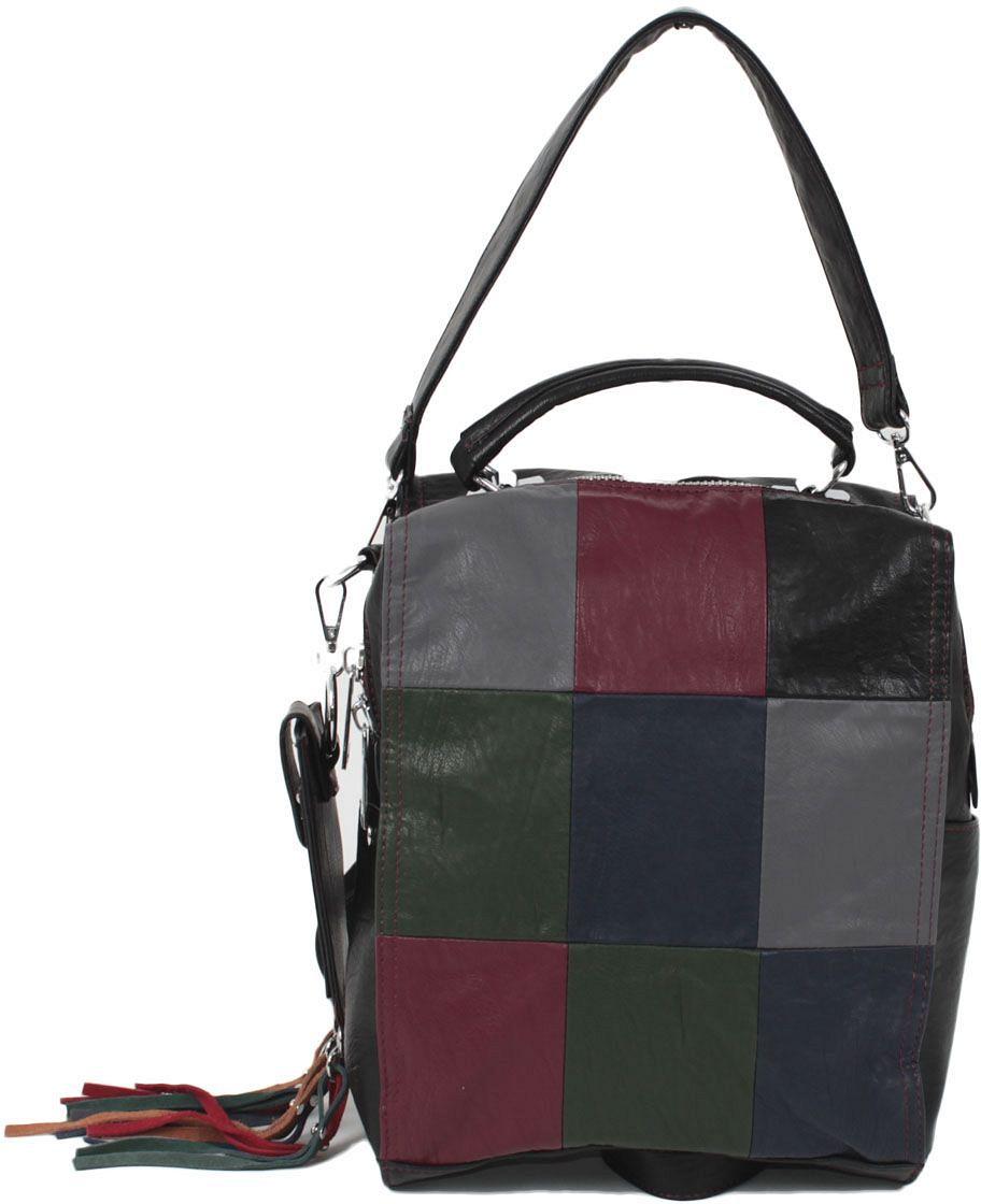 Рюкзак женский Flioraj, цвет: черный. 839BM8434-58AEЗакрывается на молнию. Внутри одно отделение, два кармана для мобильного телефона, один карман на молнии, снаружи один карман на молнии. В комплекте кошелек. Высота ручки 16 см.