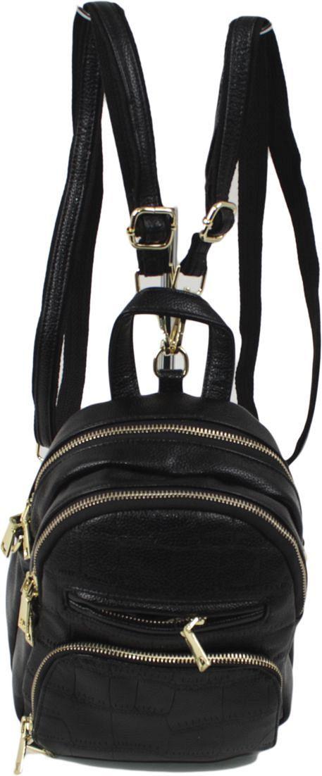 Рюкзак женский Flioraj, цвет: черный. 5005ML597BUL/DЗакрывается на молнию. Внутри два отделения, один карман на молнии, снаружи два кармана на молнии. Высота ручки 8 см.