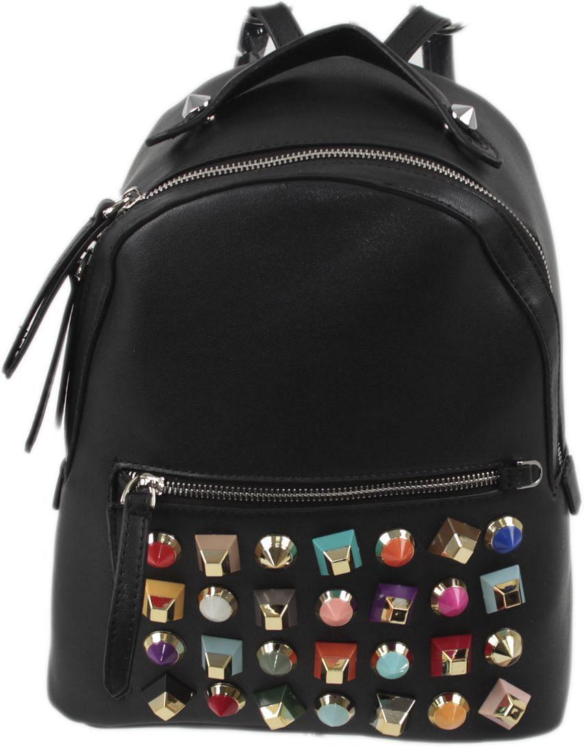Рюкзак женский Flioraj, цвет: черный. 063523008Закрывается на молнию. Внутри одно отделение, один карман на молнии. снаружи карман на молнии. Высота ручки 6 см.