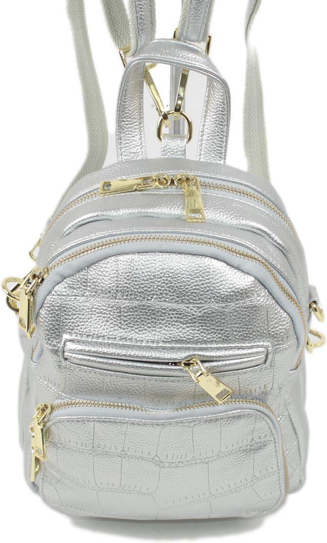 Рюкзак женский Flioraj, цвет: серебряный. 5005967-637T-17s-01-42Закрывается на молнию. Внутри два отделения, один карман на молнии, снаружи два кармана на молнии. Высота ручки 8 см.