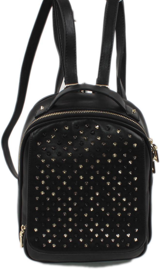 Рюкзак женский Flioraj, цвет: черный. 89383-47670-00504Закрывается на магнитную кнопку и молнию. Внутри одно отделение, открытый карман, карман на молнии, снаружи карман на молнии. Высота ручки 5 см.