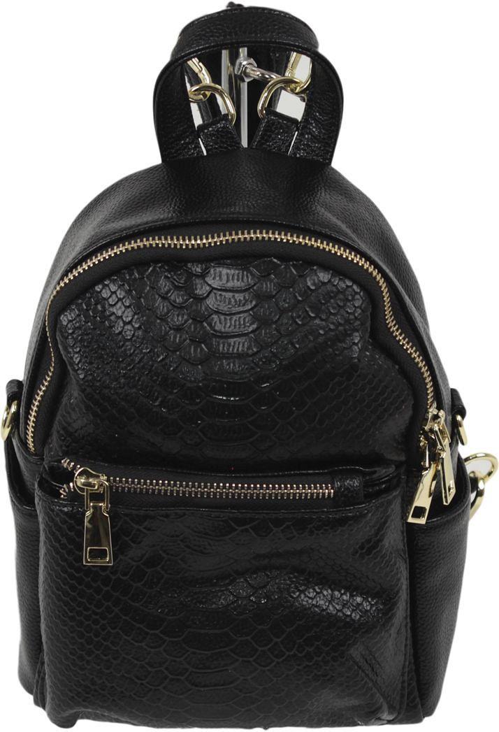 Рюкзак женский Flioraj, цвет: черный. 80123008Закрывается на молнию. Внутри одно отделение, один открытый карман, карман на молнии, снаружи два кармана на молнии. Высота ручки 7 см.