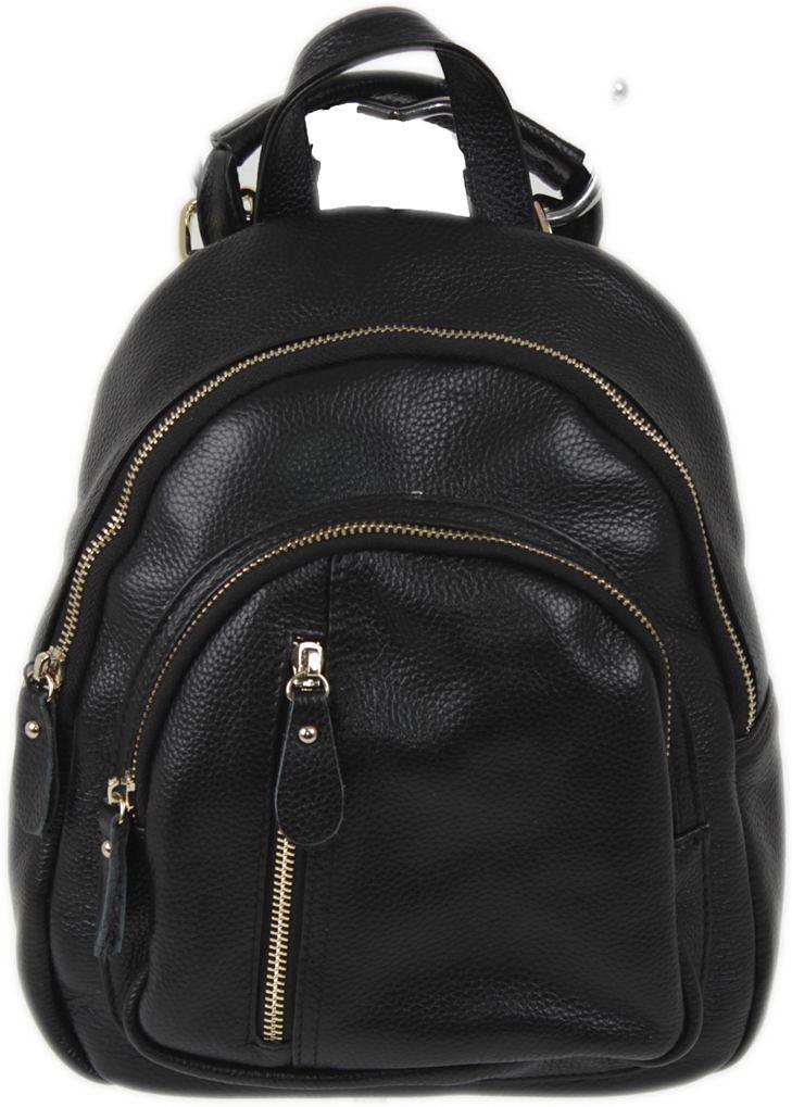 Рюкзак женский Flioraj, цвет: черный. 7963-47670-00504Закрывается на молнию. Внутри два отделения, один открытый карман, два на молнии, снаружи три кармана на молнии. Высота ручки 7 см.
