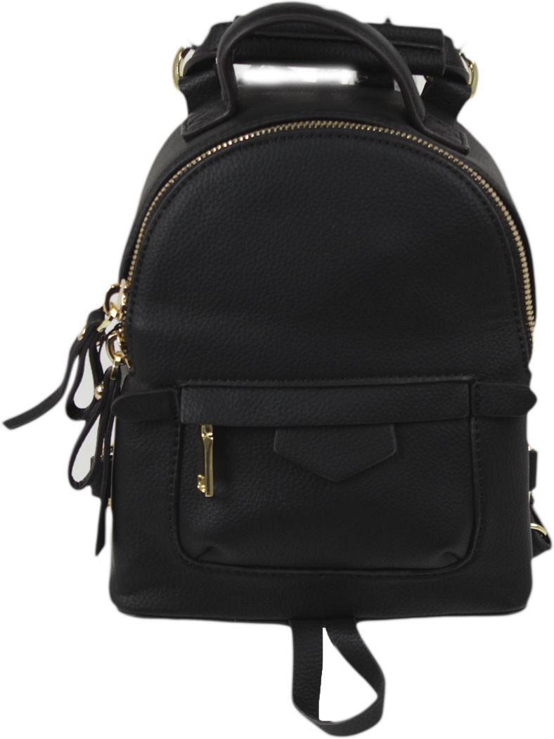 Рюкзак женский Flioraj, цвет: черный. 101610158S76245Закрывается на молнию. Внутри одно отделение, один открытый карман, снаружи карман на молнии. Высота ручки 5 см.