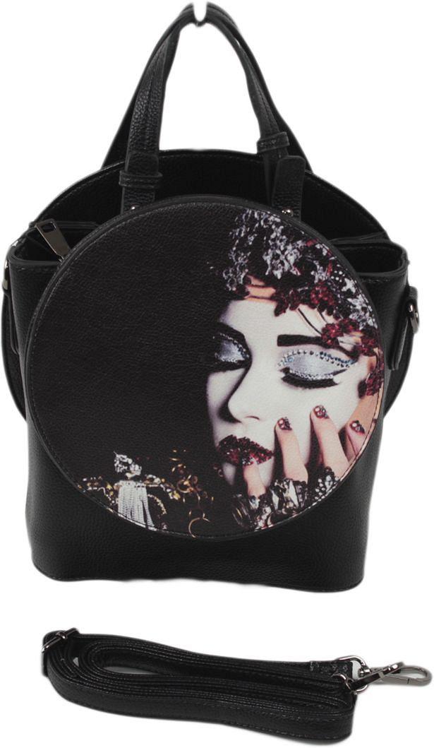 Сумка женская Flioraj, цвет: черный. 8812-2BM8434-58AEЗакрывается на молнию. Внутри одно отделение, один открытый карман, карман на молнии, снаружи открытый карман. В комплекте наплечный ремень. Высота ручек 13 см.