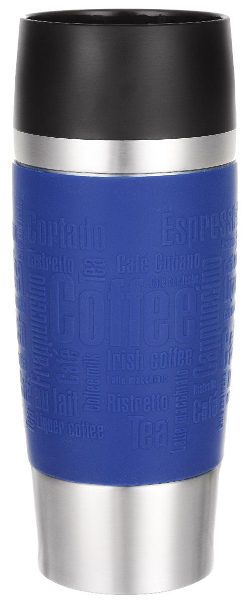 Термокружка Emsa Travel Mug, цвет: синий, 360 млVT-1520(SR)Термокружка Emsa Travel Mug - это идеальный попутчик в дороге - не важно, по пути ли на работу, в школу или во время похода по магазинам. Вакуумная кружка на 100% герметична. Кружка имеет вакуумную колбу из нержавеющей стали с двойными стенками, благодаря чему температура жидкости сохраняется долгое время. Кружку удобно держать благодаря силиконовому покрытию Soft Touch с оригинальным рельефом в виде надписей. Изделие открывается нажатием кнопки. Пробка разбирается и превосходно моется. Дно кружки выполнено из противоскользящего материала. Можно мыть в посудомоечной машине. Диаметр кружки по верхнему краю: 8 см.Диаметр дна кружки: 6,5 см.Высота кружки: 20 см.Сохранение холодной температуры: 8 ч.Сохранение горячей температуры: 4 ч.