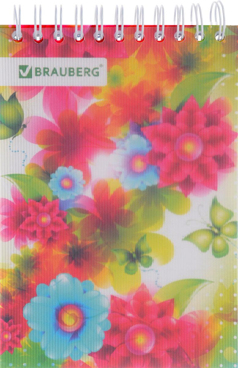 Brauberg Блокнот Чувство Цветы и бабочки 80 листов в клетку121593Стильный блокнот Brauberg для записей и заметок с женственным дизайном. Пластиковая обложка долго сохраняет привлекательный внешний вид и защищает яркий рисунок.Внутренний блок состоит из высококачественного офсета в клетку. Листы блокнота соединены металлическим гребнем.