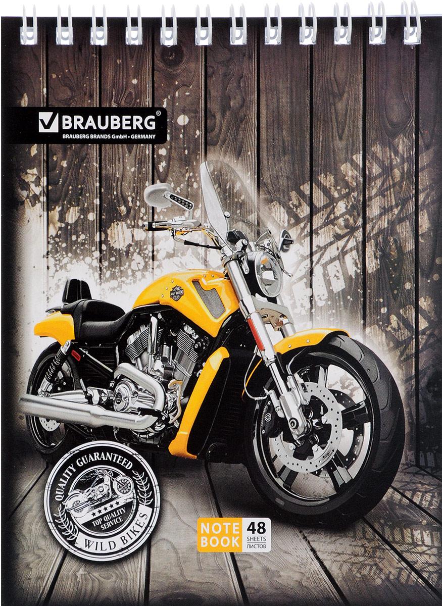 Brauberg Блокнот Мотоциклы 48 листов в клетку цвет желтый
