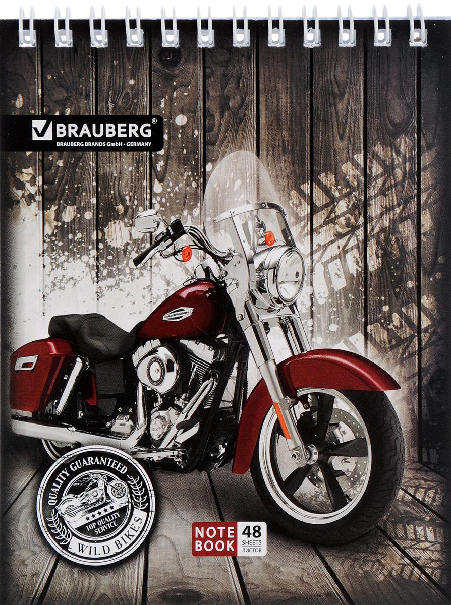 Brauberg Блокнот Мотоциклы 48 листов в клетку цвет бордовый