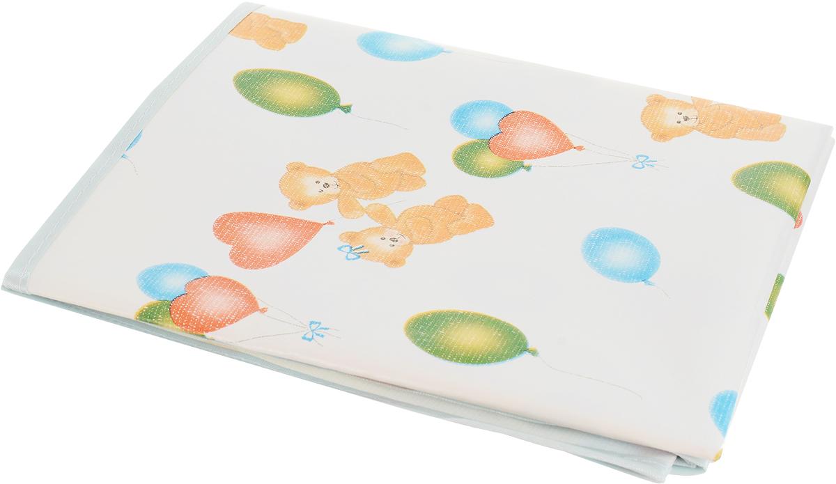 Колорит Клеенка подкладная с резинками-держателями цвет белый светло-бирюзовый 70 х 100 см -