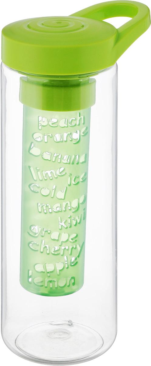 Бутылка для напитков Herevin, цвет: прозрачный, салатовый, 750 млVT-1520(SR)Бутылка для напитков Herevin выполнена из качественного пластика и имеет прозрачные стенки. Специальная съемная секция с отверстиями предназначена для ягод и фруктов, что позволяет сделать свежий ароматный напиток. Пластиковая крышка с ручкой плотно закручивается, благодаря этому внутри сохраняется герметичность, и содержимое дольше остается свежим. Широкое горлышко позволяет без труда наполнять емкость. Бутылку с ароматным освежающим напитком удобно взять с собой на работу, учебу, прогулку, на занятия фитнесом и в поездки. Диаметр основания: 7 см.Высота емкости: 21 см.