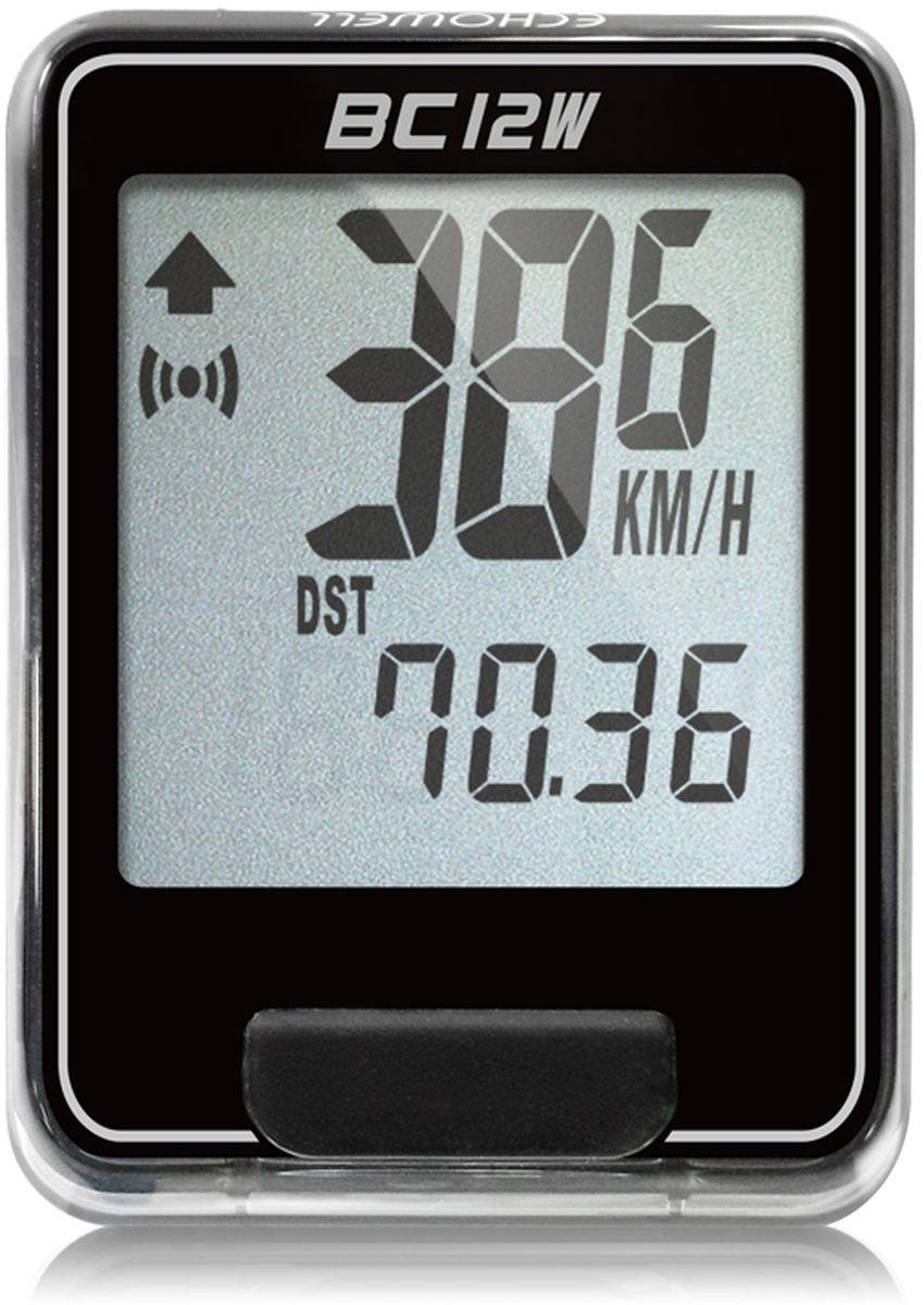 Велокомпьютер беспроводной Echowell BC12W, цвет: черный, 12 функций300810Серия беспроводных велокомпьютеров Echowell BC-12W с двенадцатью функциями (включая счетчик калорий) в обновленном стильном корпусе предназначен для использования при занятиях велоспортом, велотуризмом и просто катании на велосипеде. Это удобный и простой в использовании электронный прибор, предоставляющий велосипедисту всю необходимую информацию о поездке. Имеет отличную водо и пылезащиту. Все операции и настройки выполняются одной кнопкой. 12 функций:• Скорость текущая• Скорость средняя• Скорость максимальная• Дистанция поездки• Одометр• Время поездки• Общее время катания• Изменение скорости по отношению к средней общей • Часы• Скан (функция скан задействует режим показа всех функций на дисплее компьютера поочередно)• Счетчик калорий• Счетчик калорий общийВелокомпьютер состоит из двух частей - дисплея, внешне похожего на электронные часы и датчика скорости. Дисплей крепится на руле с возможностью мгновенно отсоединить его, когда нет желания оставлять на велосипеде без присмотра или под дождем. Магнитный датчик скорости (геркон) крепится рядом с колесом. Благодаря беспроводной технологии, дисплей и датчик скорости не имеют лишних проводов. Скорость движения определяется с точностью до десятых долей, дистанцию с точностью до 10 метров.• Водо и пылезащита• Питание: от литиевой батарейки типа CR2032 (входит в комплект)