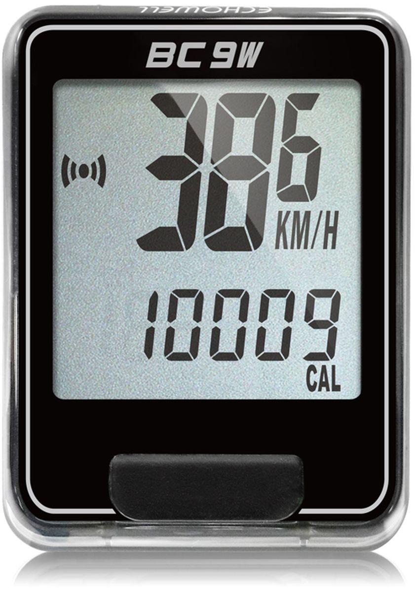 Велокомпьютер беспроводной Echowell BC9W, цвет: черный, 9 функцийSСJ-2201Серия беспроводных велокомпьютеров Echowell BC-9W с девятью функциями (включая счетчик калорий) в обновленном стильном корпусе предназначен для использования при занятиях велоспортом, велотуризмом и просто катании на велосипеде. Это удобный и простой в использовании электронный прибор, предоставляющий велосипедисту всю необходимую информацию о поездке. Имеет отличную водо и пылезащиту. Все операции и настройки выполняются одной кнопкой. 9 функций:• Скорость текущая• Скорость средняя• Скорость максимальная• Дистанция поездки• Одометр• Время поездки• Часы• Скан (функция скан задействует режим показа всех функций на дисплее компьютера поочередно)• Счетчик калорийВелокомпьютер состоит из двух частей - дисплея, внешне похожего на электронные часы и датчика скорости. Дисплей крепится на руле с возможностью мгновенно отсоединить его, когда нет желания оставлять на велосипеде без присмотра или под дождем. Магнитный датчик скорости (геркон) крепится рядом с колесом. Скорость движения определяется с точностью до десятых долей, дистанцию с точностью до 10 метров.• Водо и пылезащита• Питание: от литиевой батарейки типа CR2032 (входит в комплект)