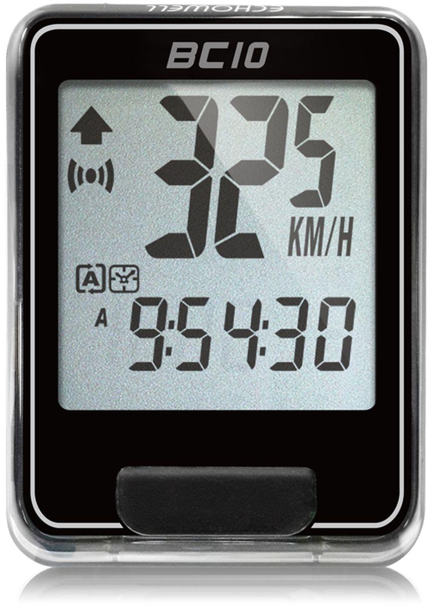 Велокомпьютер Echowell BC10, цвет: черный, 10 функцийBC-10Серия проводных велокомпьютеров Echowell BC-10 с десятью функциями в обновленном стильном корпусе предназначен для использования при занятиях велоспортом, велотуризмом и просто катании на велосипеде. Это удобный и простой в использовании электронный прибор, предоставляющий велосипедисту всю необходимую информацию о поездке. Имеет отличную водо и пылезащиту. Все операции и настройки выполняются одной кнопкой. 10 функций:• Скорость текущая• Скорость средняя• Скорость максимальная• Дистанция поездки• Одометр• Время поездки• Общее время катания• Изменение скорости по отношению к средней общей • Часы• Скан (функция скан задействует режим показа всех функций на дисплее компьютера поочередно)Велокомпьютер состоит из двух частей - дисплея, внешне похожего на электронные часы и датчика скорости. Дисплей крепится на руле с возможностью мгновенно отсоединить его, когда нет желания оставлять на велосипеде без присмотра или под дождем. Магнитный датчик скорости (геркон) крепится рядом с колесом. Скорость движения определяется с точностью до десятых долей, дистанцию с точностью до 10 метров.• Водо и пылезащита• Питание: от литиевой батарейки типа CR2032 (входит в комплект)