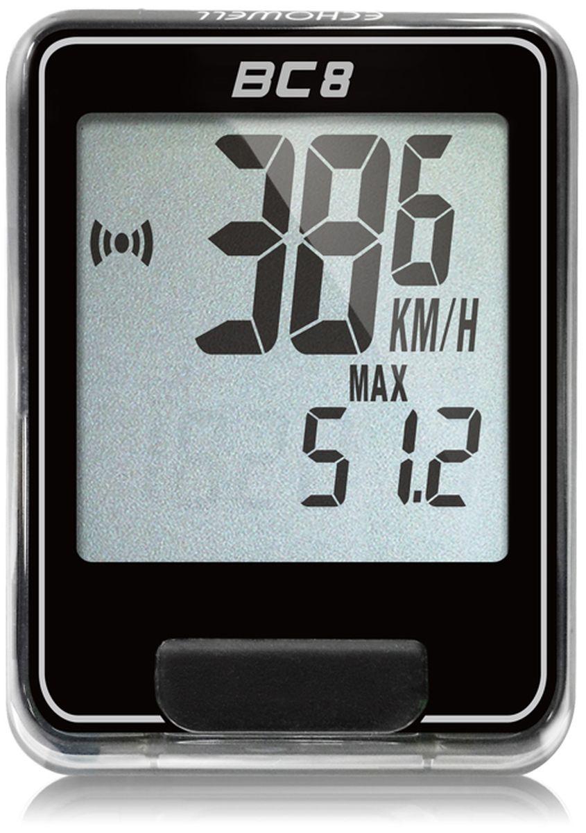 Велокомпьютер Echowell BC8, цвет: черный, 8 функцийSСJ-2201Серия проводных велокомпьютеров Echowell BC-8 с восьмью функциями в обновленном стильном корпусе предназначен для использования при занятиях велоспортом, велотуризмом и просто катании на велосипеде. Это удобный и простой в использовании электронный прибор, предоставляющий велосипедисту всю необходимую информацию о поездке. Имеет отличную водо и пылезащиту. Все операции и настройки выполняются одной кнопкой. 8 функций:• Скорость текущая• Скорость средняя• Скорость максимальная• Дистанция поездки• Одометр• Время поездки• Часы• Скан (функция скан задействует режим показа всех функций на дисплее компьютера поочередно)Велокомпьютер состоит из двух частей - дисплея, внешне похожего на электронные часы и датчика скорости. Дисплей крепится на руле с возможностью мгновенно отсоединить его, когда нет желания оставлять на велосипеде без присмотра или под дождем. Магнитный датчик скорости (геркон) крепится рядом с колесом. Скорость движения определяется с точностью до десятых долей, дистанцию с точностью до 10 метров.• Водо и пылезащита• Питание: от литиевой батарейки типа CR2032 (входит в комплект)