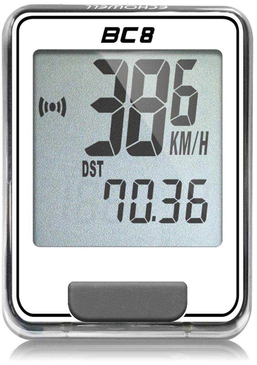 Велокомпьютер Echowell BC8, цвет: белый, 8 функций1125040Серия проводных велокомпьютеров Echowell BC-8 с восьмью функциями в обновленном стильном корпусе предназначен для использования при занятиях велоспортом, велотуризмом и просто катании на велосипеде. Это удобный и простой в использовании электронный прибор, предоставляющий велосипедисту всю необходимую информацию о поездке. Имеет отличную водо и пылезащиту. Все операции и настройки выполняются одной кнопкой. 8 функций:• Скорость текущая• Скорость средняя• Скорость максимальная• Дистанция поездки• Одометр• Время поездки• Часы• Скан (функция скан задействует режим показа всех функций на дисплее компьютера поочередно)Велокомпьютер состоит из двух частей - дисплея, внешне похожего на электронные часы и датчика скорости. Дисплей крепится на руле с возможностью мгновенно отсоединить его, когда нет желания оставлять на велосипеде без присмотра или под дождем. Магнитный датчик скорости (геркон) крепится рядом с колесом. Скорость движения определяется с точностью до десятых долей, дистанцию с точностью до 10 метров.• Водо и пылезащита• Питание: от литиевой батарейки типа CR2032 (входит в комплект)