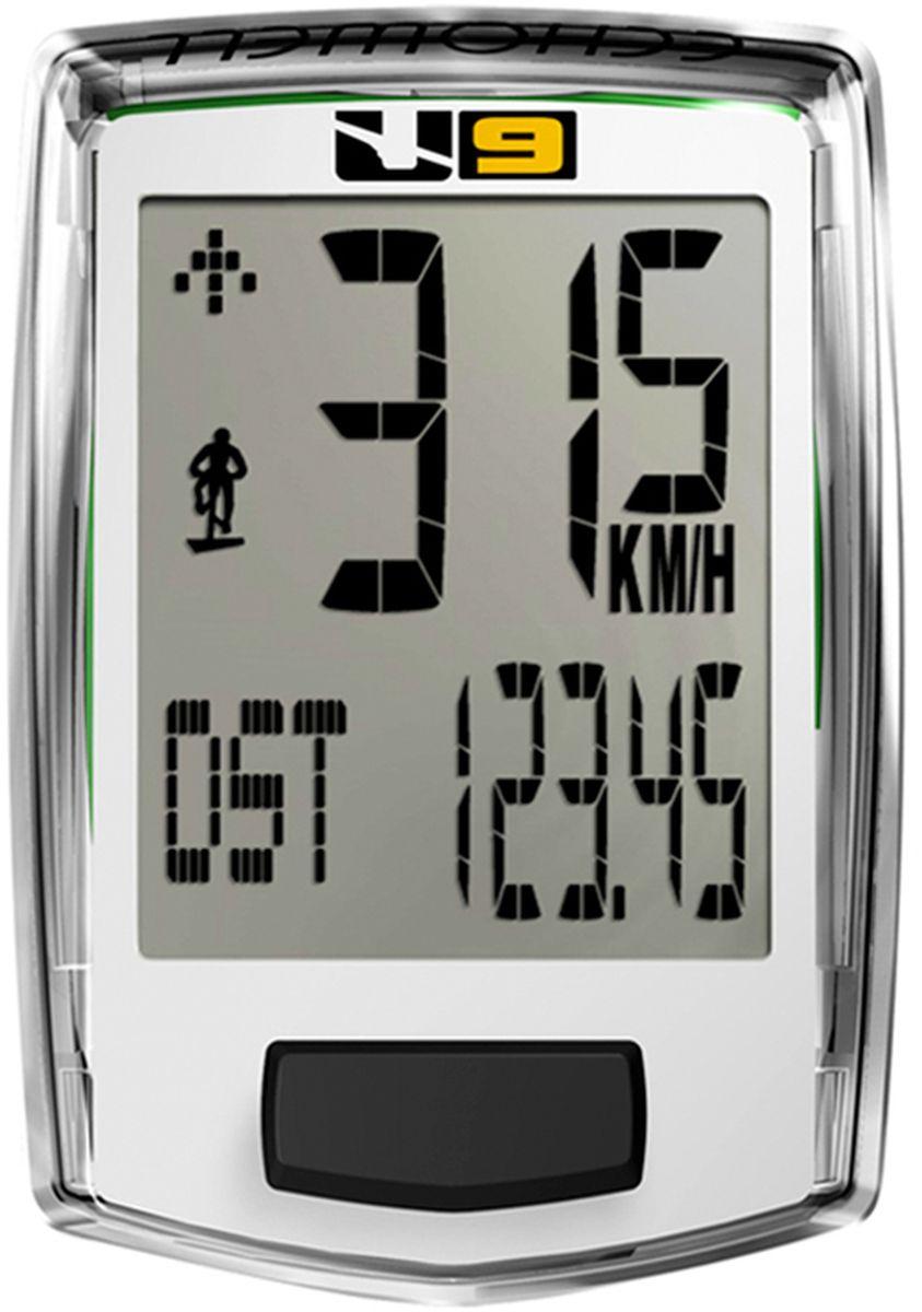 Велокомпьютер Echowell U9, цвет: белый, 10 функцийMABLSEH10001Проводной велокомпьютер Echowell U9 с девятью функциями в стильном корпусе предназначен для использования при занятиях велоспортом, велотуризмом и просто катании на велосипеде. Это удобный и простой в использовании электронный прибор, предоставляющий велосипедисту всю необходимую информацию о поездке. Имеет отличную водо и пылезащиту. 9 функций:• Скорость текущая• Скорость средняя• Скорость максимальная• Дистанция поездки• Одометр• Время поездки• Изменение скорости по отношению к средней общей • Часы• Счетчик сокращенного выброса CO2Велокомпьютер состоит из двух частей соединенных проводом - дисплея, внешне похожего на электронные часы и датчика скорости. Дисплей крепится на руле с возможностью мгновенно отсоединить его, когда нет желания оставлять на велосипеде без присмотра или под дождем. Магнитный датчик скорости (геркон) крепится рядом с колесом. Скорость движения определяется с точностью до десятых долей, дистанцию с точностью до 10 метров. Счетчик сокращенного выброса СО2 отображает количество углекислого газа, которое удалось сократить за счет использования велосипеда. Велосипед в среднем экономит 0,17 г. СО2 на 1 км пути.• Водо- и пылезащита• Питание: от литиевой батарейки типа CR2032 (входит в комплект)