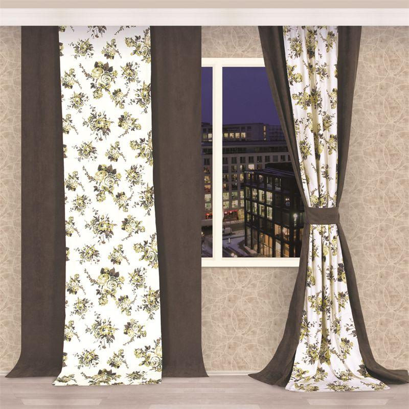 Штора Apolena Ранняя осень, на ленте, высота 270 смSVC-300Двойная штора - оригинальное дизайнерское решение. Штора состоит из двух полотен - однотонного и с рисунком. Полотна могут располагаться рядом друг с другом или одно поверх другого. Рисунок повторяет одноименный дизайн покрывала, декоративных подушек, настенных часов или картины. Ткань с эффектом персика поглощает пыль в помещении и имеет очень приятную на ощупь текстуру. Шторы можно крепить на круглый карниз или шину с помощью крючков.