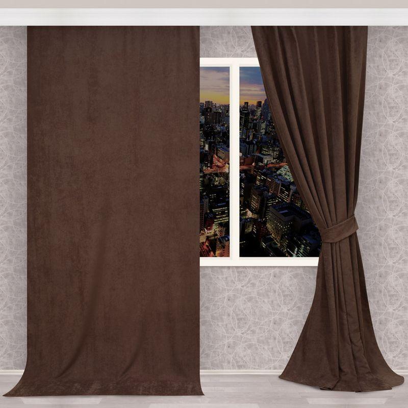 Штора Apolena Шоколад, на ленте, высота 270 см1004900000360Легкая штора из микрофибры имеет насыщенный цвет и плотную структуру. Полотно рассеивает солнечный свет на 30-60% в зависимости от цвета ткани. Чем темнее цвет, тем выше коэффициент поглощения солнечных лучей. Штора идеально подходит для детской или молодежной комнаты, а также для гостиной с в стиле Loft, Pop art или Модерн. Уникальным свойством ткани является поглощение пыли, которая не оседает на поверхности, а проникает внутрь капиллярной структуры полотна. При задергивании штор, пыль не летит во все стороны и впоследствии легко удаляется при стирке. Стойкий глубокий цвет полотна прекрасно сочетается с аксессуарами из разных коллекций, как в виде компаньона, так и в качестве самостоятельного акцентного элемента интерьера. Шторная лента позволяет крепить штору на классический карниз и на крючки с кольцами. При желании вы можете присборить штору с помощью лески, предварительно закрепив ее концы с обеих сторон.