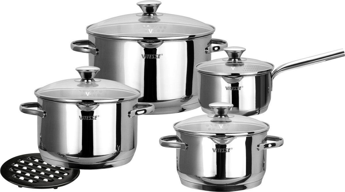 Набор посуды Vitesse Petunia, 9 предметов.VS-1024Набор посуды Vitesse Petunia прекрасно подойдет для вашей кухни. Он состоит из трех кастрюль с крышками вместительностью 2,65 л, 3,9 л, и 6,1 л, сотейника с крышкой и подставки под горячее. Предметы набора изготовлены из высококачественной нержавеющей стали 18/10. Они оснащены капсулированным дном с прослойкой алюминия, которое обеспечивает наилучшее распределение тепла по поверхности посуды. Кастрюли и сотейник имеют на внутренней стенке шкалу литража, а также два носика для удобного слива воды. Ручки из нержавеющей стали надежно крепятся к корпусу емкостей. Крышки выполнены из термостойкого стекла и позволяют следить за процессом приготовления пищи. Они оснащены металлическим ободом по краю, который позволит предотвратить сколы стекла. На металлическом ободе имеются набольшие отверстия для удобного процеживания. Подставка под горячее изготовлена из бакелита черного цвета.Посуду можно использовать на всех типах плит, включая индукционные. Также изделия можно мыть в посудомоечной машине. Характеристики: Материал: нержавеющая сталь 18/10, бакелит, стекло. Диаметр кастрюли объемом 2,65 л:18 см. Диаметр кастрюли объемом 3,9 л:20 см. Диаметр кастрюли объемом 6,1 л:24 см. Объем сотейника:1,7 л. Диаметр сотейника:16 см. Длина ручки сотейника:18 см. Диаметр подставки:17 см. Размер упаковки:48 см х 27,5 см х 21,5 см.Артикул:VS-1028.Кухонная посуда марки Vitesseиз нержавеющей стали 18/10 предоставит вам все необходимое для получения удовольствия от приготовления пищи и принесет радость от его результатов. Посуда Vitesse обладает выдающимися функциональными свойствами. Легкие в уходе кастрюли и сковородки имеют плотно закрывающиеся крышки, которые дают возможность готовить с малым количеством воды и экономией энергии, и идеально подходят для всех видов плит: газовых, электрических, стеклокерамических и индукционных. Конструкция дна посуды гарантирует быстрое поглощение тепла, его равномерное распределение и сохранение. Великоле