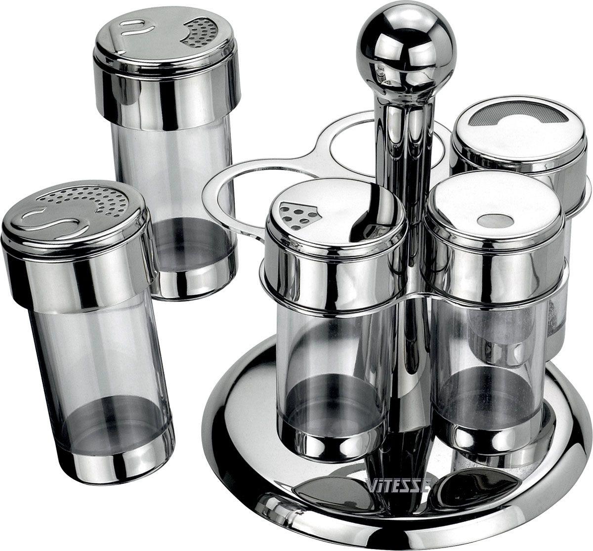 Набор для специй Vitesse Margo, 6 предметовVT-1520(SR)Набор для специй Margo состоит емкости для какао порошка, универсальной емкости для специй, перечницы, солонки, подставки для зубочисток и вращающейся металлической подставки. Емкости выполнены из нержавеющей стали и прозрачного пластика. Крышки емкостей снабжены резьбой, которая обеспечивает плотное прилегание крышки, и позволяет долгое время сохранить специи свежими.Данный набор - оригинальное решение для современной кухни. Характеристики:Диаметр емкости:4 см.Высота емкости:10,2 см.Материал:нержавеющая сталь, пластик.Артикул:VS-1080.Кухонная посуда марки Vitesseиз нержавеющей стали 18/10 предоставит Вам все необходимое для получения удовольствия от приготовления пищи и принесет радость от его результатов. Посуда Vitesse обладает выдающимися функциональными свойствами. Легкие в уходе кастрюли и сковородки имеют плотно закрывающиеся крышки, которые дают возможность готовить с малым количеством воды и экономией энергии, и идеально подходят для всех видов плит: газовых, электрических, стеклокерамических и индукционных. Конструкция дна посуды гарантирует быстрое поглощение тепла, его равномерное распределение и сохранение. Великолепно отполированная поверхность, а также многочисленные конструктивные новшества, заложенные во все изделия Vitesse, позволит Вам открыть новые горизонты приготовления уже знакомых блюд. Для производства посуды Vitesseиспользуются только высококачественные материалы, которые соответствуют международным стандартам.