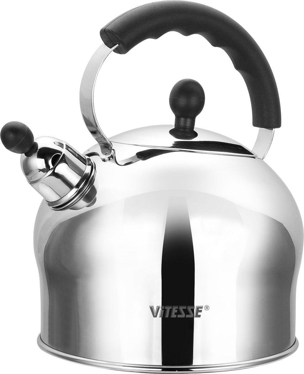 Чайник Vitesse Connie со свистком, 2,5 л54 009312Чайник Vitesse Connie выполнен из высококачественной нержавеющей стали 18/10 с зеркальной полировкой. Капсулированное дно с прослойкой из алюминия обеспечивает наилучшее распределение тепла. Носик чайника оснащен насадкой-свистком, что позволит вам контролировать процесс подогрева или кипячения воды. Ручка чайника изготовлена из бакелита. Она имеет фиксированное положение. Чайник Vitesse Connie подходит для использования на всех типах плит. Также изделие можно мыть в посудомоечной машине. Характеристики: Материал: нержавеющая сталь, бакелит. Объем:2,5 л. Диаметр основания чайника: 17,5 см. Высота чайника (с учетом крышки и ручки):24 см. Размер упаковки:19,5 см х 24,5 см х 19 см.Изготовитель:Китай. Артикул:VS-1108.Кухонная посуда марки Vitesseиз нержавеющей стали 18/10 предоставит вам все необходимое для получения удовольствия от приготовления пищи и принесет радость от его результатов. Посуда Vitesse обладает выдающимися функциональными свойствами. Легкие в уходе кастрюли и сковородки имеют плотно закрывающиеся крышки, которые дают возможность готовить с малым количеством воды и экономией энергии, и идеально подходят для всех видов плит: газовых, электрических, стеклокерамических и индукционных. Конструкция дна посуды гарантирует быстрое поглощение тепла, его равномерное распределение и сохранение. Великолепно отполированная поверхность, а также многочисленные конструктивные новшества, заложенные во все изделия Vitesse, позволит вам открыть новые горизонты приготовления уже знакомых блюд. Для производства посуды Vitesseиспользуются только высококачественные материалы, которые соответствуют международным стандартам.