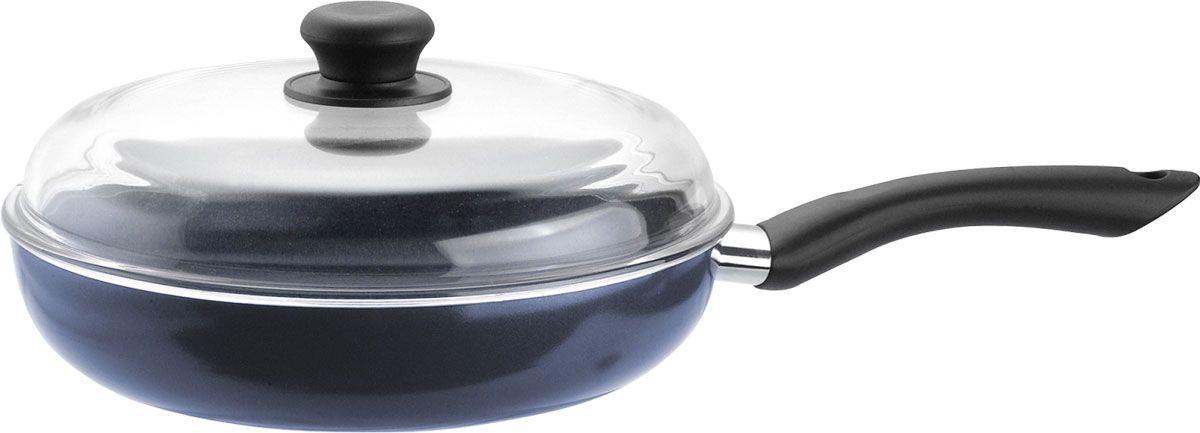 Сковорода Vitesse Delfina Camille, цвет: синий. Диаметр 28 смVS-1156Сковорода Vitesse Delfina Camille, изготовленная из высококачественного алюминия, имеет трехслойное внутреннее антипригарное покрытие DuPont, Teflon Select. Прозрачная крышка, выполненная из термостойкого стекла, позволяет следить за процессом приготовления пищи, а ненагревающаяся бакелитовая ручка обеспечивает удобство при эксплуатации.Форма кромки сковороды предотвращает разливание жидкости, а благодаря правильности линий кромки в комбинации с крышкой обеспечивается максимальная герметизация между ними. Наружная поверхность сковороды отделана синим силиконовым покрытием, что придает ей нотки благородности и изысканности.Сковорода подходит для всех типов плит и пригодна для мытья в посудомоечной машине. Характеристики: Материал: алюминий, стекло, бакелит. Диаметр сковороды:28 см. Высота стенки: 5 см. Длина ручки:19 см. Размер упаковки:30 см х 30 см х 8 см.Изготовитель:Китай. Артикул:VS-1156.Кухонная посуда марки Vitesseпредоставит Вам все необходимое для получения удовольствия от приготовления пищи и принесет радость от его результатов. Посуда Vitesseобладает выдающимися функциональными свойствами. Легкие в уходе кастрюли и сковородки имеют плотно закрывающиеся крышки, которые дают возможность готовить с малым количеством воды и экономией энергии, и идеально подходят для всех видов плит: газовых, электрических, стеклокерамических и индукционных. Конструкция дна посуды гарантирует быстрое поглощение тепла, его равномерное распределение и сохранение. Великолепно отполированная поверхность, а также многочисленные конструктивные новшества, заложенные во все изделия Vitesse , позволит Вам открыть новые горизонты приготовления уже знакомых блюд. Для производства посуды Vitesseиспользуются только высококачественные материалы, которые соответствуют международным стандартам.