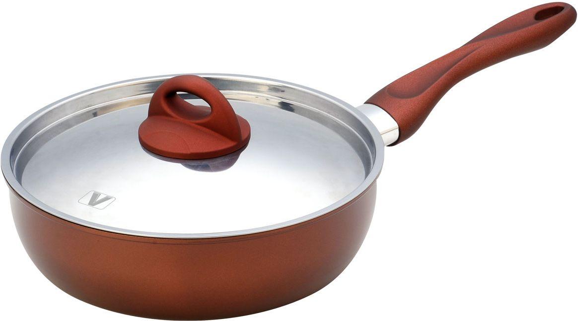 Сковорода Vitesse Blythe, с антипригарным покрытием. Диаметр 24 см54 009312Сковорода Vitesse Blythe станет незаменимым помощником на кухне. Сковорода изготовлена из высококачественной углеродистой стали толщиной 1,2 мм. Внешнее элегантное цветное покрытие, подвергшееся высокотемпературной обработке, устойчиво к царапинам. Внутреннее антипригарное покрытие Exdura 2 также устойчиво к царапинам. Бакелитовая ненагревающаяся ручка удобной формы. Крышка выполнена из нержавеющей стали с двумя отверстиями для выпуска пара. Пригодна для мытья в посудомоечной машине. Подходит для всех видов варочных панелей. Характеристики: Материал: сталь, бакелит. Диаметр сковороды: 24 см. Высота стенок сковороды: 7 см. Длина ручки: 20 см. Размер упаковки: 38 см х 33 см х 14 см.