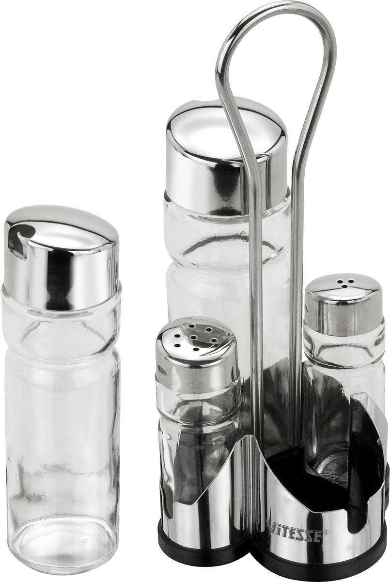 Набор для приправ Vitesse RivaVT-1520(SR)Набор для приправ Riva, изготовленный из высококачественной нержавеющей стали 18/10 с зеркальной полировкой и стекла, включает в себя солонку, перечницу, емкости для уксуса и масла и оригинальную подставку.Крышки емкостей снабжены резьбой, которая обеспечивает плотное прилегание крышки.Данный набор - оригинальное решение для современной кухни. Характеристики:Размер солонки, перечницы:3 см х 3 см х 9 см.Размер емкости для уксуса и масла:4,5 см х 4,5 см х 15,5 см.Материал:нержавеющая сталь 18/10, стекло, пластик.Артикул:VS-1223.Кухонная посуда марки Vitesseиз нержавеющей стали 18/10 предоставит Вам все необходимое для получения удовольствия от приготовления пищи и принесет радость от его результатов. Посуда Vitesse обладает выдающимися функциональными свойствами. Легкие в уходе кастрюли и сковородки имеют плотно закрывающиеся крышки, которые дают возможность готовить с малым количеством воды и экономией энергии, и идеально подходят для всех видов плит: газовых, электрических, стеклокерамических и индукционных. Конструкция дна посуды гарантирует быстрое поглощение тепла, его равномерное распределение и сохранение. Великолепно отполированная поверхность, а также многочисленные конструктивные новшества, заложенные во все изделия Vitesse, позволит Вам открыть новые горизонты приготовления уже знакомых блюд. Для производства посуды Vitesseиспользуются только высококачественные материалы, которые соответствуют международным стандартам.