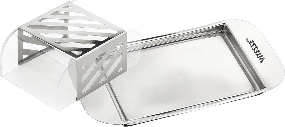 Масленка Vitesse Leala115510Масленка Leala выполнена из высококачественной нержавеющей стали 18/10 с прозрачной пластиковой крышкой. Масленка эстетична и функциональна. Благодаря эксклюзивному дизайну масленка легко впишется в интерьер вашей кухни.Масленку можно мыть в посудомоечной машине (без пластиковой крышки). Характеристики:Размер масленки:20 см х 11 см х 5,5 см.Материал:нержавеющая сталь 18/10, пластик.Артикул:VS-1231.Кухонная посуда марки Vitesseиз нержавеющей стали 18/10 предоставит Вам все необходимое для получения удовольствия от приготовления пищи и принесет радость от его результатов. Посуда Vitesse обладает выдающимися функциональными свойствами. Легкие в уходе кастрюли и сковородки имеют плотно закрывающиеся крышки, которые дают возможность готовить с малым количеством воды и экономией энергии, и идеально подходят для всех видов плит: газовых, электрических, стеклокерамических и индукционных. Конструкция дна посуды гарантирует быстрое поглощение тепла, его равномерное распределение и сохранение. Великолепно отполированная поверхность, а также многочисленные конструктивные новшества, заложенные во все изделия Vitesse, позволит Вам открыть новые горизонты приготовления уже знакомых блюд. Для производства посуды Vitesseиспользуются только высококачественные материалы, которые соответствуют международным стандартам.