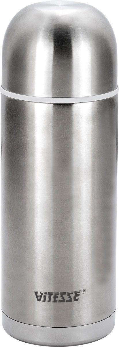 Термос Vitesse Alison, 0,75 лVT-1520(SR)Термос Vitesse Alison выполнен из высококачественной нержавеющей стали. Термос имеет вакуумную изоляцию, которая на сегодняшний день является самым эффективным способом сохранения напитков как горячими, так и холодными. Вы сможете приготовить чай и кофе непосредственно в термосе. Легкий и удобный он станет незаменимым спутником в ваших поездках. Термос оснащен крышкой-чашкой. Пробка легко фиксируется. Термос можно мыть в посудомоечной машине. Характеристики:Материал:нержавеющая сталь, пластик.Высота термоса:22,7 см.Диаметр основания термоса:9 см. Диаметр чашки по верхнему краю:8 см. Высота чашки:5 см.Объем термоса:0,75 л. Размер упаковки:23,5 см х 9,5 см х 9,5 см.Артикул:VS-1403.Кухонная посуда марки Vitesseиз нержавеющей стали 18/10 предоставит Вам все необходимое для получения удовольствия от приготовления пищи и принесет радость от его результатов. Посуда Vitesse обладает выдающимися функциональными свойствами. Легкие в уходе кастрюли и сковородки имеют плотно закрывающиеся крышки, которые дают возможность готовить с малым количеством воды и экономией энергии, и идеально подходят для всех видов плит: газовых, электрических, стеклокерамических и индукционных. Конструкция дна посуды гарантирует быстрое поглощение тепла, его равномерное распределение и сохранение. Великолепно отполированная поверхность, а также многочисленные конструктивные новшества, заложенные во все изделия Vitesse, позволит Вам открыть новые горизонты приготовления уже знакомых блюд. Для производства посуды Vitesseиспользуются только высококачественные материалы, которые соответствуют международным стандартам.